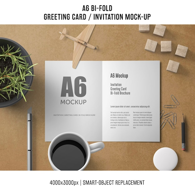 a6 bi fold greeting card template with coffee psd file. Black Bedroom Furniture Sets. Home Design Ideas