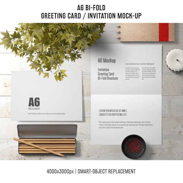 a6 bi fold greeting card template with pencils and plant. Black Bedroom Furniture Sets. Home Design Ideas
