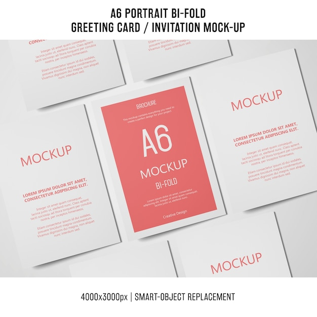 a6 bi fold invitation card mockup free psd