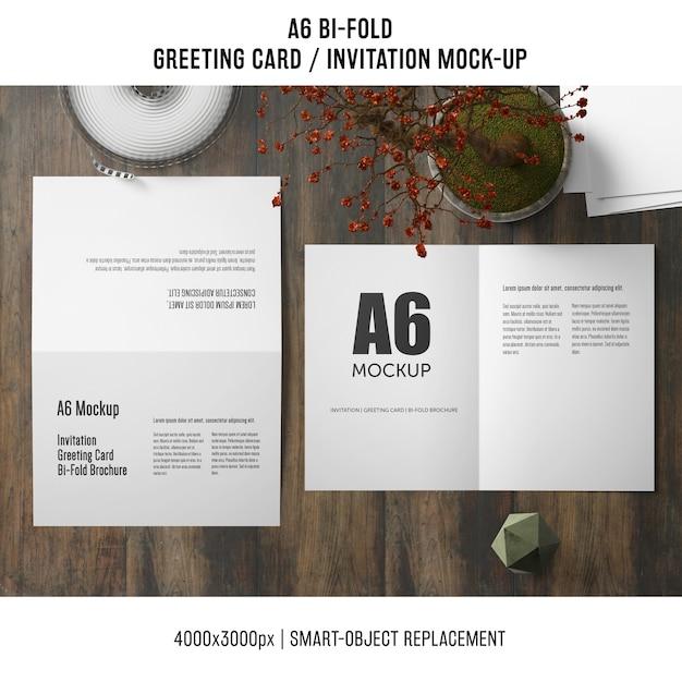 a6 bi fold invitation card mockup psd file free download