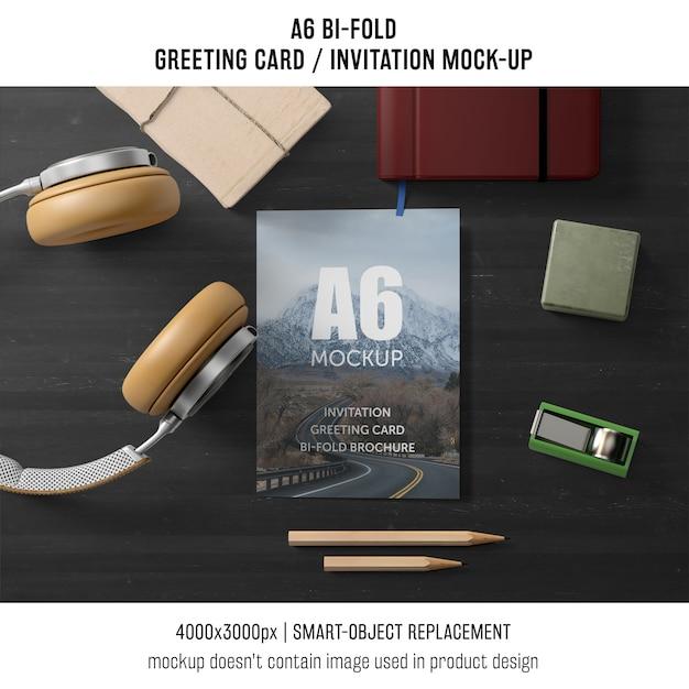 a6 bi fold invitation card template with headphones psd. Black Bedroom Furniture Sets. Home Design Ideas