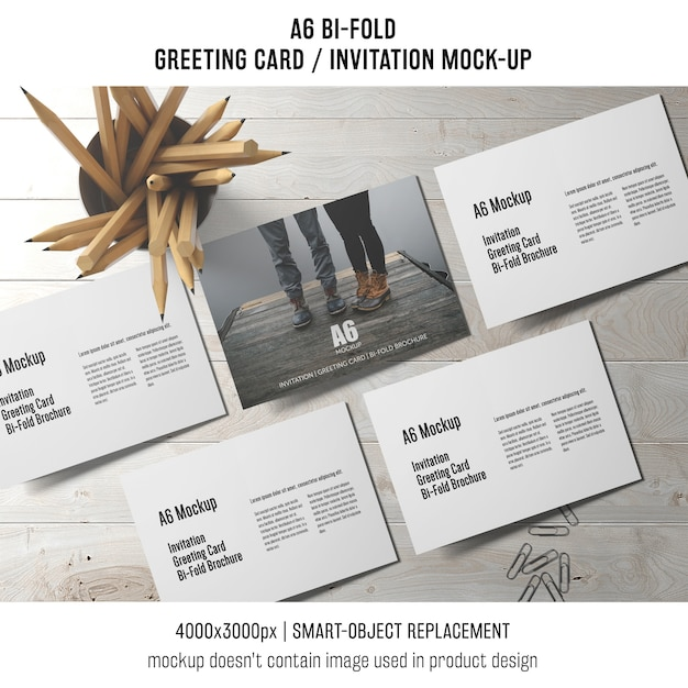 A6 Bi Fold Invitation Card Template With Pencils Free Psd