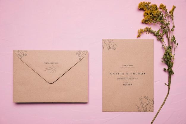 Выше вид свадебного приглашения макет Бесплатные Psd