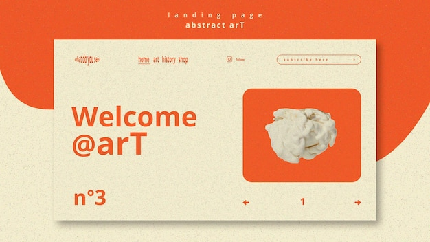 Abstract art landing page template Free Psd