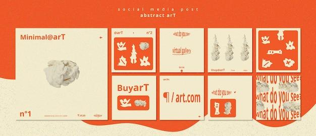 Abstract art social media post template Premium Psd