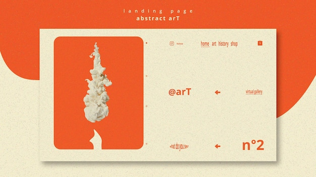 Abstract art template landing page Free Psd