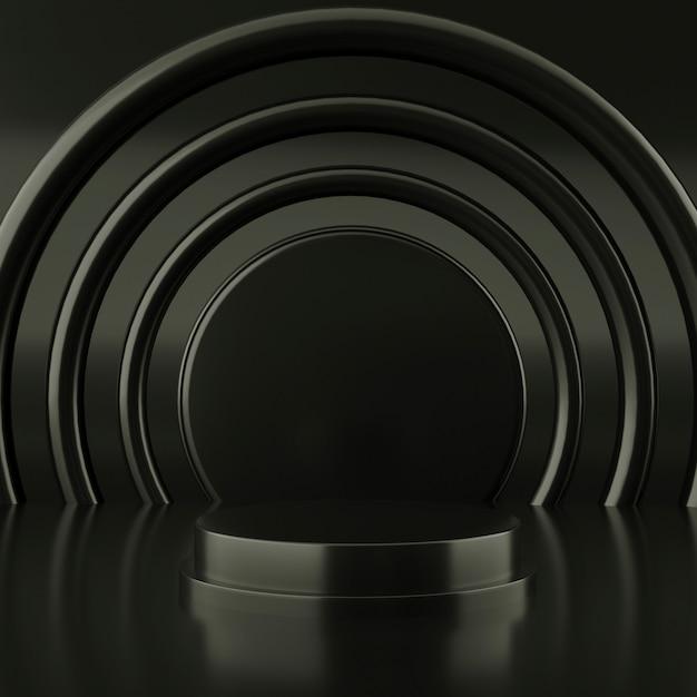 추상 검은 색 기하학적 모양, 연단 디스플레이 또는 쇼케이스, 3d 렌더링을위한 현대적인 미니멀리스트 프리미엄 PSD 파일