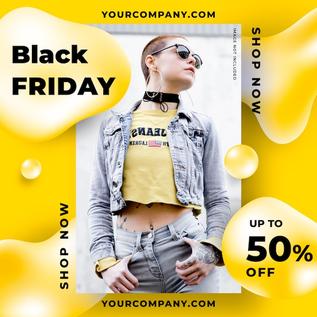 Abstract black friday liquid banner template Free Psd