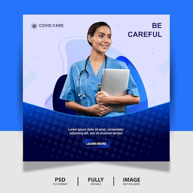 Аннотация blue health doctor социальные медиа post banner Premium Psd