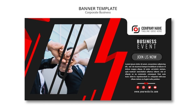 Abstract business banner template Free Psd