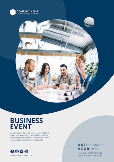 Abstract business event poster template Free Psd