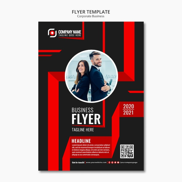 Abstract business flyer template Free Psd