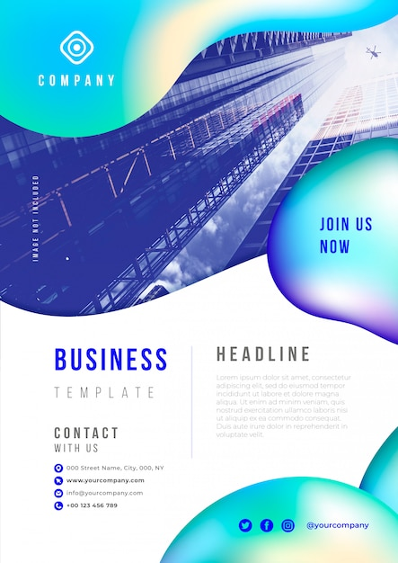 Abstract business flyer with liquid elements psd template Free Psd