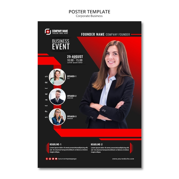 Abstract business poster template Free Psd