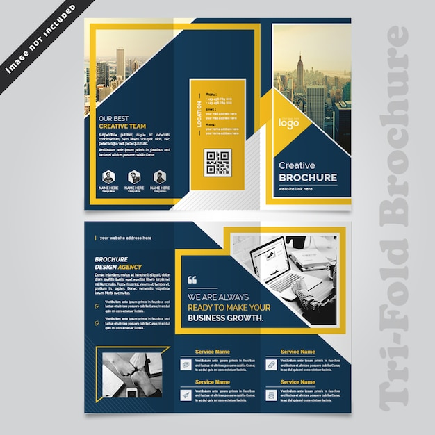 Abstract business trifold brochure design Premium Psd