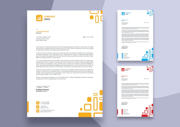 Abstract colorful business letterhead template design Premium Psd