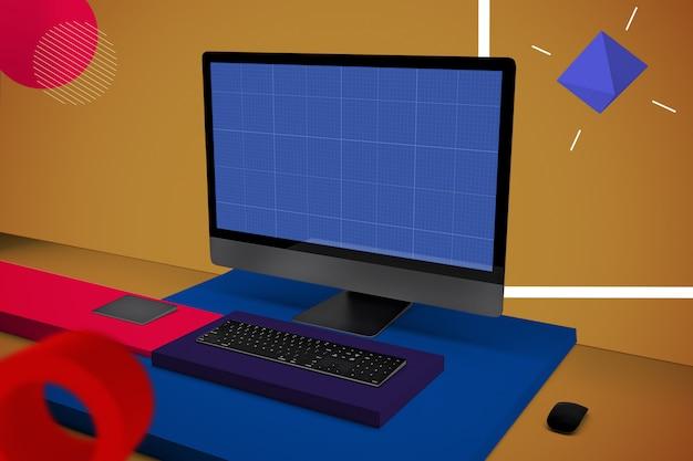 Abstract computer pro v.2 mockup Premium Psd