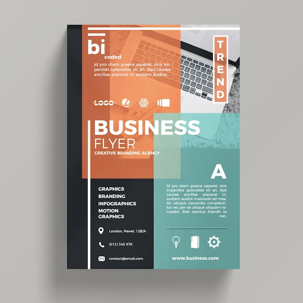Abstract corporate business flyer template psd file free for Free psd brochure template