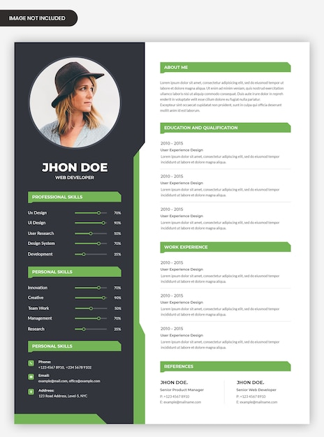 Abstract curriculum vitae template with photo Premium Psd