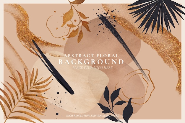 Abstract floral background with golden nature Free Psd
