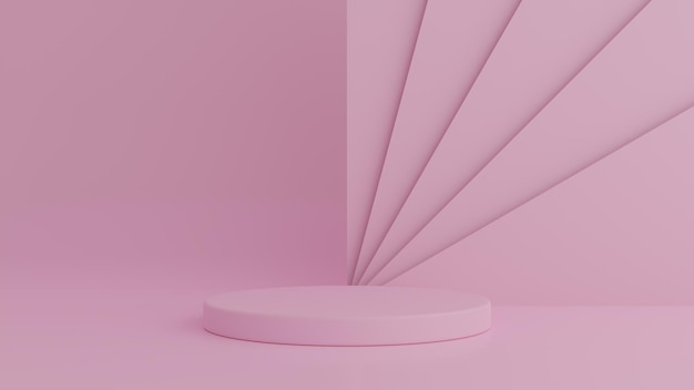 제품에 대 한 핑크 색상 배경에 추상 기하학 모양 핑크 색상 연단. 최소한의 개념. 3d 렌더링 프리미엄 PSD 파일