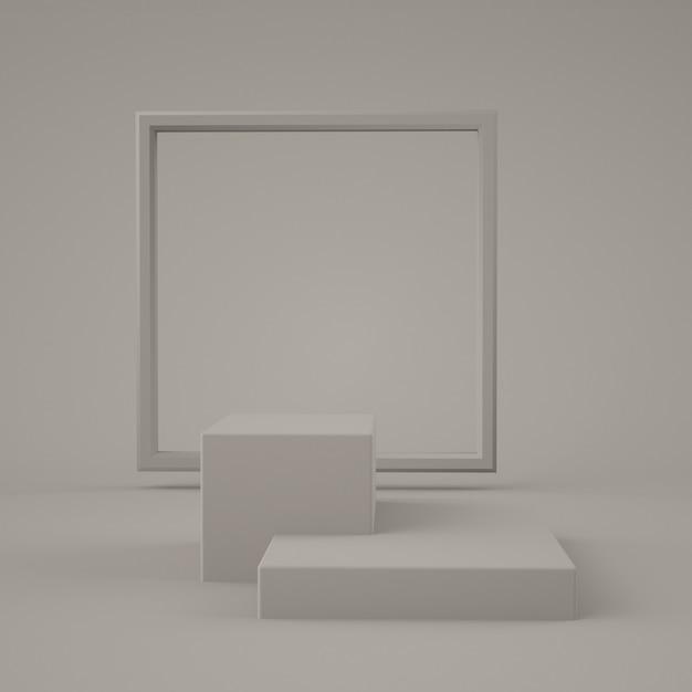 추상 회색 색상 기하학적 모양, 연단 디스플레이 또는 쇼케이스, 3d 렌더링을위한 현대적인 미니멀리스트 프리미엄 PSD 파일
