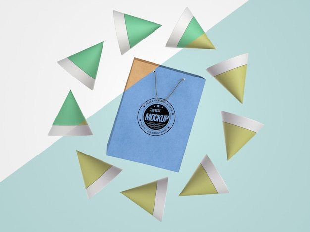 Abstract mock-up merchandise with paper bag Free Psd