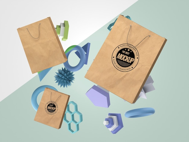 Abstract mock-up merchandise with paper bags Premium Psd