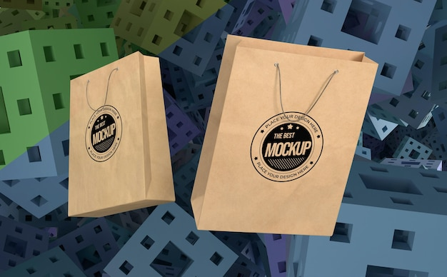 Abstract mock-up shopping bags merchandise Premium Psd