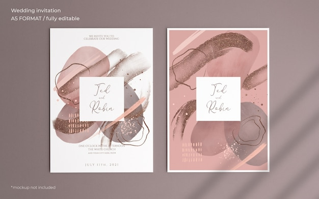 Abstract painting wedding invitation template Free Psd