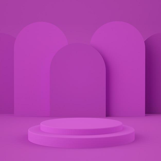 Абстрактная розовая стена с подиумом геометрической формы для продукта. минимальная концепция 3d-рендеринг Premium Psd