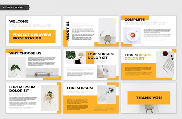 Abstract project overview business presentation slider template Premium Psd