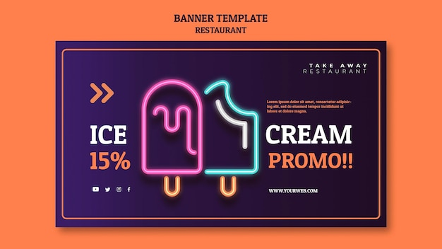 Abstract restaurant banner template with neon ice creams Free Psd