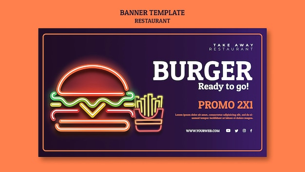 Abstract restaurant banner template Free Psd