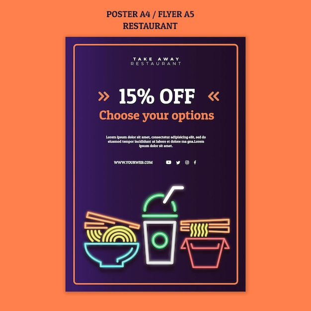 Abstract restaurant poster template with neon food Free Psd