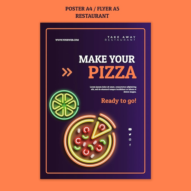 Abstract restaurant poster template with neon pizza Free Psd