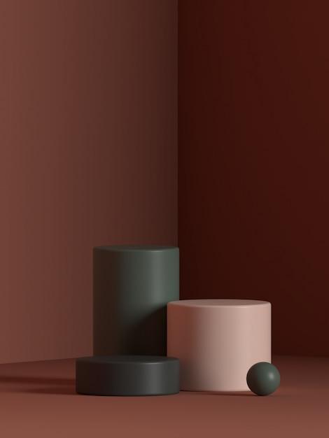 추상 장면 기하학 모양 연단 렌더링 프리미엄 PSD 파일