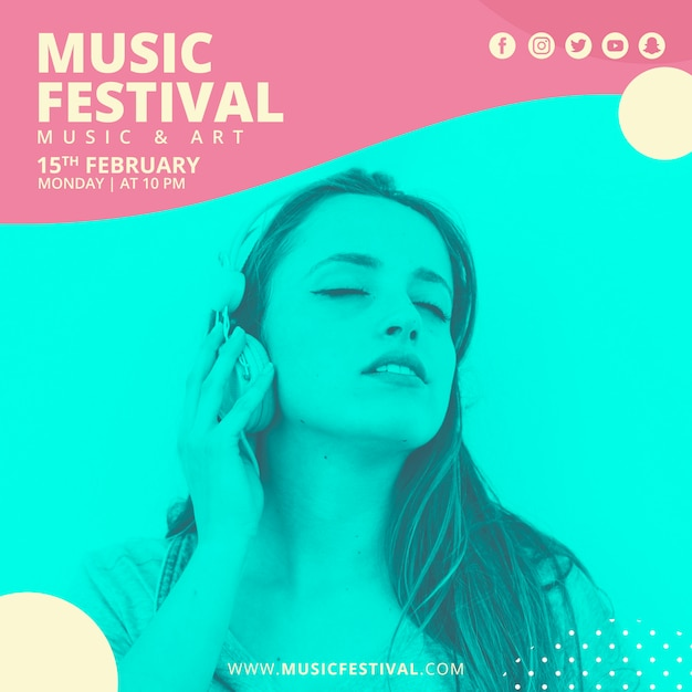 Abstract square festival music banner template Free Psd