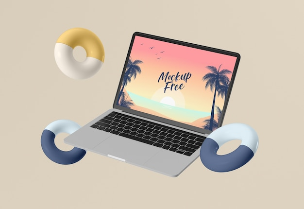 Abstract summer concept with laptop Free Psd