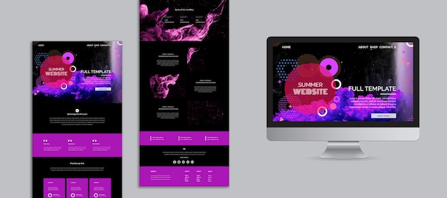 Abstract summer festival website template collection Free Psd
