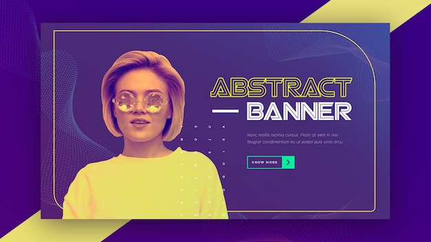 Abstract technology banner with woman wearing yellow shirt Free Psd