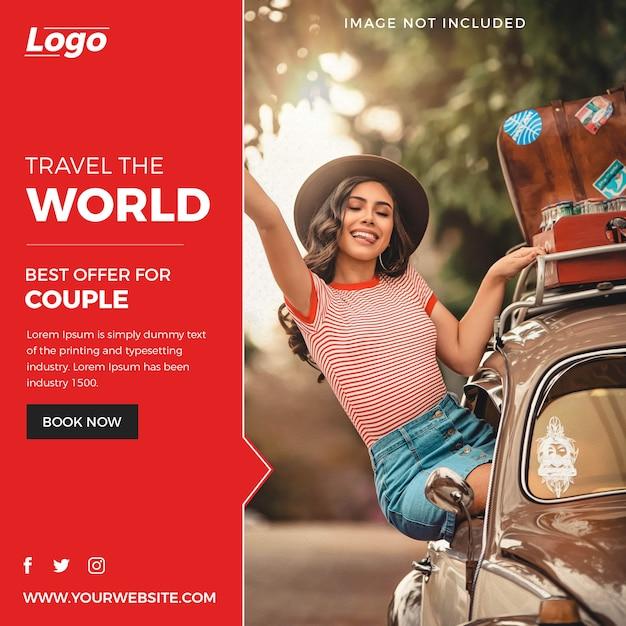 Abstract travel social media post Premium Psd