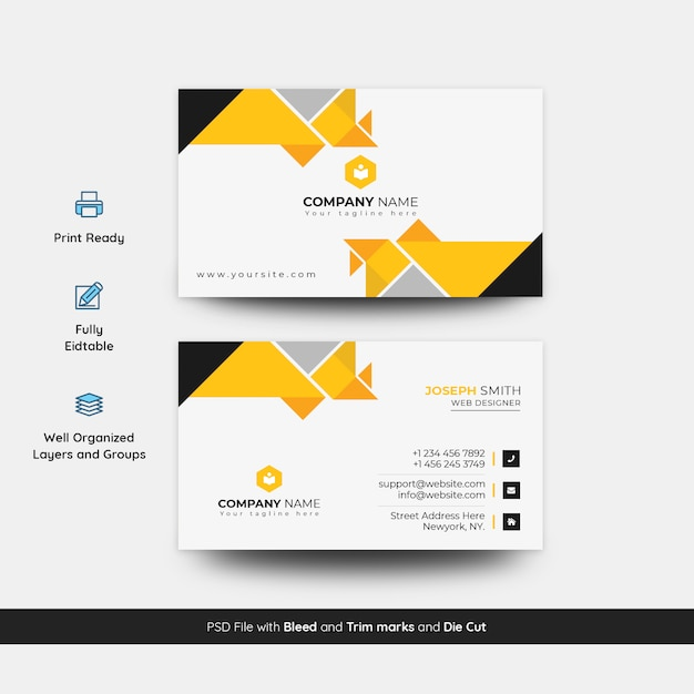 Abstract visiting card template Premium Psd