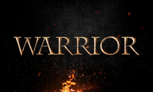 Abstract warrior lettering with grunge & metal effect in fire Premium Psd