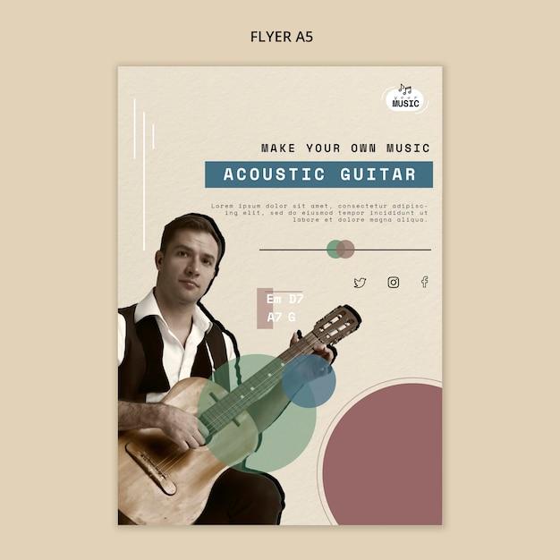 Design volantino lezioni di chitarra acustica Psd Gratuite