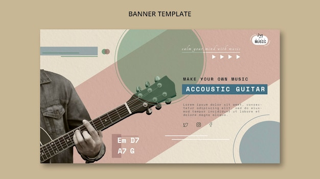 Acoustic Guitar Lessons Horizontal Banner Free Psd File