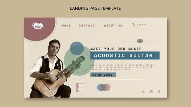 Pagina di destinazione delle lezioni di chitarra acustica Psd Gratuite