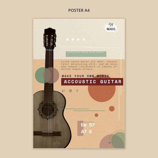 Lezioni di chitarra acustica in stile poster Psd Gratuite