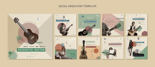 Acoustic guitar lessons social media post Premium Psd