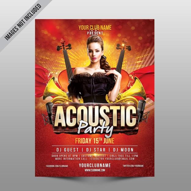 Acoustic party flyer mockup Premium Psd